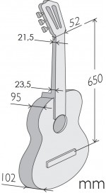 Guitarras Alhambra. Estudio. Iberia Ziricote medidas