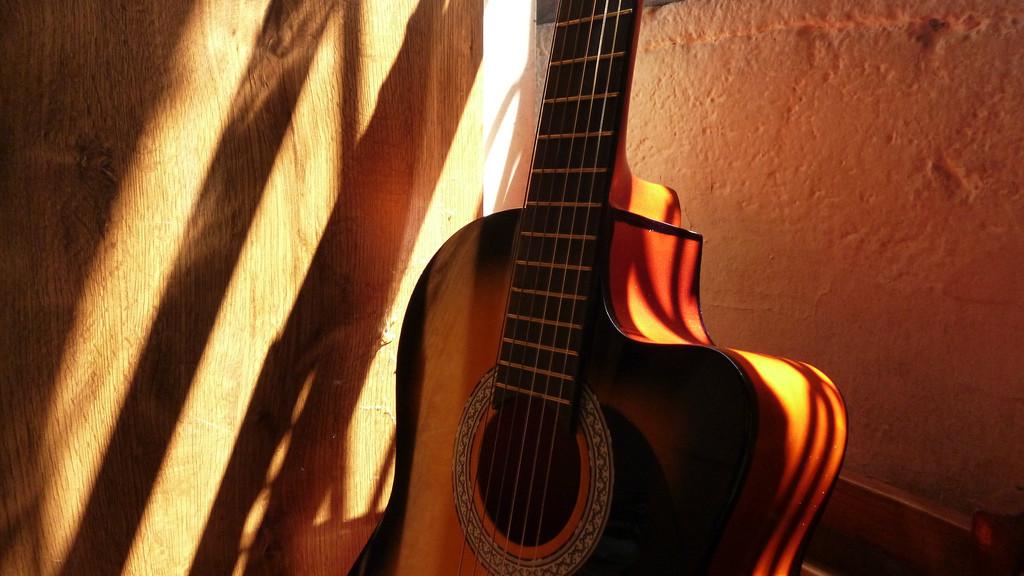 Tocar la guitarra con madera ecológica